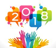 Vector 2018 Happy New Year background. a. Vector 2018 Happy New Year background. Color design with numeral 2018, people`s hands. The file is saved in the version Stock Photos