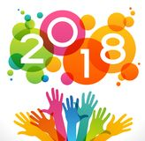 Vector 2018 Happy New Year background. a. Vector 2018 Happy New Year background. Color design with numeral 2018, people`s hands. The file is saved in the version Royalty Free Stock Images