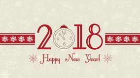 Vector 2018 Happy New Year background, web banner, text label with snowflakes, winter theme doodles hand drawn illustration. Greeting card template, flat Stock Photos