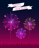 Vector : Happy New Year banner with firework over the city Royalty Free Stock Images