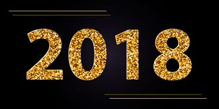 Vector Happy New Year 2018 black background with gold glitter confetti.Festive premium design template for holiday greeting card. royalty free illustration