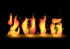 Vector happy new year 2015 by blaze fire flame Stock Image