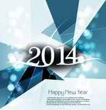 Vector Happy New Year 2014 blue colorful swirl wav. E creative background Stock Photo