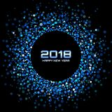 Vector Happy New Year 2018 Card Background. Blue Bright Disco Lights Halftone Circle Frame. Stock Photography