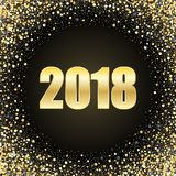 Vector Happy New Year 2018 Card Background. Gold Bright Disco Lights Circle Frame. Round border using gold confetti. Vector Happy New Year 2018 Card Background Stock Photography