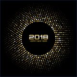 Vector Happy New Year 2018 Card Background. Gold Bright Disco Lights Halftone Circle Frame. Golden Round border using halftone circle dots raster texture Stock Photography
