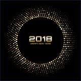 Vector Happy New Year 2018 Card Background. Gold Bright Disco Lights Halftone Circle Frame. Golden Round border using halftone circle dots raster texture Stock Image
