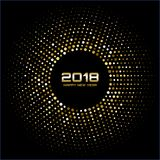 Vector Happy New Year 2018 Card Background. Gold Bright Disco Lights Halftone Circle Frame. Royalty Free Stock Image