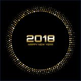 Vector Happy New Year 2018 Card Background. Gold Bright Disco Lights Halftone Circle Frame. Stock Photo