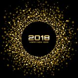 Vector Happy New Year 2018 Card Background. Gold Bright Disco Lights Halftone Circle Frame. Stock Photos