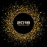 Vector Happy New Year 2018 Card Background and gold confetti circle dots. Gold Bright Disco Lights Halftone Circle Frame. Vector Happy New Year 2018 Card Stock Photo