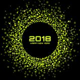 Vector Happy New Year 2018 Card Background. Green Bright Disco Lights Halftone Circle Frame. Round border using blue confetti circle dots texture Stock Images