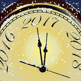 Vector 2017 Happy New Year card with gold clock and snow Royalty Free Stock Photos