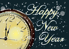 Vector 2017 Happy New Year card with gold clock and snow Stock Photos