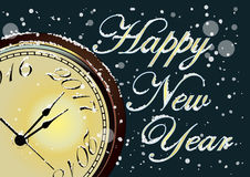 Vector 2017 Happy New Year card with gold clock and snow Royalty Free Stock Images