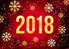 Vector 2018 Happy New Year card. Golden numbers with confetti on black background. 2018 Happy New Year Background. Golden numbers with confetti on black Stock Photography
