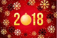 Vector 2018 Happy New Year card. Golden numbers with confetti on black background. 2018 Happy New Year Background. Golden numbers with confetti on black Royalty Free Stock Images