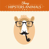 Vector Happy New year card with hipster sheep on. Vector card with hipster sheep on scrap booking card with glasses flat concept vector illustration Royalty Free Illustration