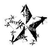 Vector Happy new year 2015 card. Vector modern Happy new year 2015 card with stars Stock Photography