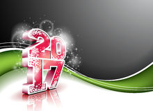 Vector Happy New Year celebration background with shiny 3d 2017 text. Stock Image