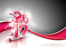 Vector Happy New Year celebration background with shiny 3d 2017 text. Stock Images