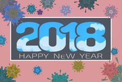 Vector 2018 happy new year celebration BG. Abstract geometric firework vector illustration for happy new year celebration 2018 on pink background with blue sky Royalty Free Stock Photography