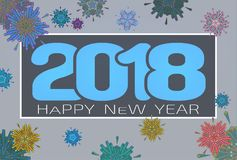 Vector 2018 happy new year celebration BG. Abstract geometric firework ornament vector illustration for happy new year celebration 2018 on flat gray background Royalty Free Stock Photos