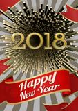 Vector 2018 happy new year celebration BG. Abstract golden geometric firework  vector illustration for happy new year celebration 2018 on silver shining Royalty Free Stock Images