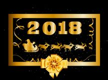 Vector 2018 Happy New Year and Christmas background with golden. Gift bow and Santa Claus riding on sledge decorated with tinsel and confetti  inside of gold Stock Images