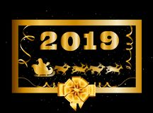 Vector 2019 Happy New Year and Christmas background with golden gift bow and Santa Claus. Riding on sledge decorated with tinsel and confetti inside of golden stock illustration