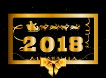 Vector 2018 Happy New Year and Christmas background with golden. Gift bow and Santa flying on deer sleigh decorated with tinsel and confetti  inside of gold Stock Images