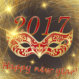 Vector happy New Year 2017 and Christmas. line Golden disk can b Royalty Free Stock Image