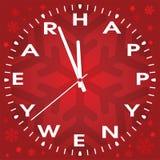Vector happy new year clock. Vector illustration of happy new year clock stock illustration