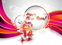 Vector Happy New Year 2014 colorful celebration background.  Stock Photography