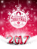 Vector Happy New Year colorful celebration background with shiny 3d 2017 text and typography elements. Stock Image