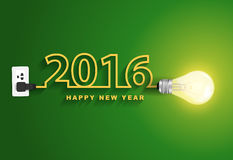 Vector 2016 happy new year concept creative light bulb idea Stock Photos