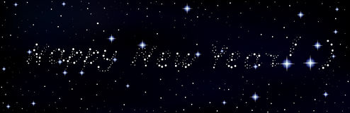 Vector Happy New Year congratulations written in the stars on night sky Royalty Free Stock Photo