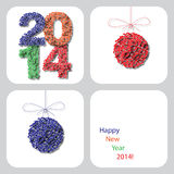 Vector happy new year 2014 decoration card Stock Photo
