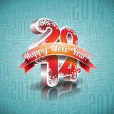 Vector Happy New Year 2014 design with ribbon on typographic background.  royalty free illustration