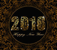 Vector - 2016 happy new year 2016 flat background with floral pattern design card style. 2016 Happy New Year greeting card or background. Vector illustration Royalty Free Stock Images