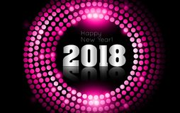 Vector - Happy New Year 2018 - gold disco lights frame.  Royalty Free Stock Photos