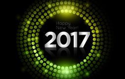 Vector - Happy New Year 2017 - gold disco lights frame.  Stock Photos