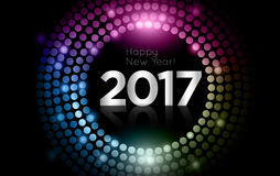 Vector - Happy New Year 2017 - gold disco lights frame.  Royalty Free Stock Images