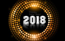 Vector - Happy New Year 2018 - gold disco lights frame.  Stock Image