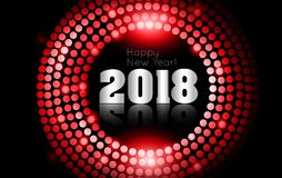 Vector - Happy New Year 2018 - gold disco lights frame.  Royalty Free Stock Photo