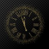Vector 2019 Happy New Year gold glitter classic clock on transparent background. Illustration EPS10 royalty free illustration