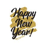 Happy new year lettring. Vector Happy New Year with gold glitter texturagreeting card or poster template flyer or invitation design stock illustration