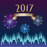 Vector of 2017 happy new year with gold ribbon with firework in. City building at night background,Holiday celebration Stock Photo