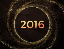 Vector - 2016 Happy New Year golden glowing. Golden grainy abstract  texture on a black  background. Design element. Vector illustration,eps 10 Royalty Free Stock Image
