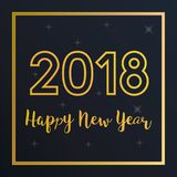 Vector 2018 Happy New Year greeting card with golden frame.. Vector illustration 2018 Happy New Year greeting card with golden text and frame. Seasonal Royalty Free Stock Photo